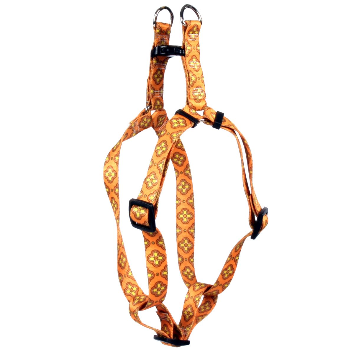 Yellow Dog Design Cleo Orange Step-in Dog Harness 3/4'' Wide and Fits Chest Circumference of 15 to 25'', Medium