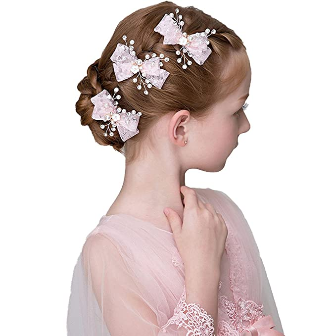 DreamYo 3 Packs Headdress Flowers Pearls Beading Beautiful Girls Hair Accessories(FZZ)