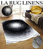 Gray Black Silver White 3D Shaggy Area Rug 8 x 10 Swirl Multi Design Hand Woven Tufted 3 Dimensional Viscose Yarns Thick Pile Review