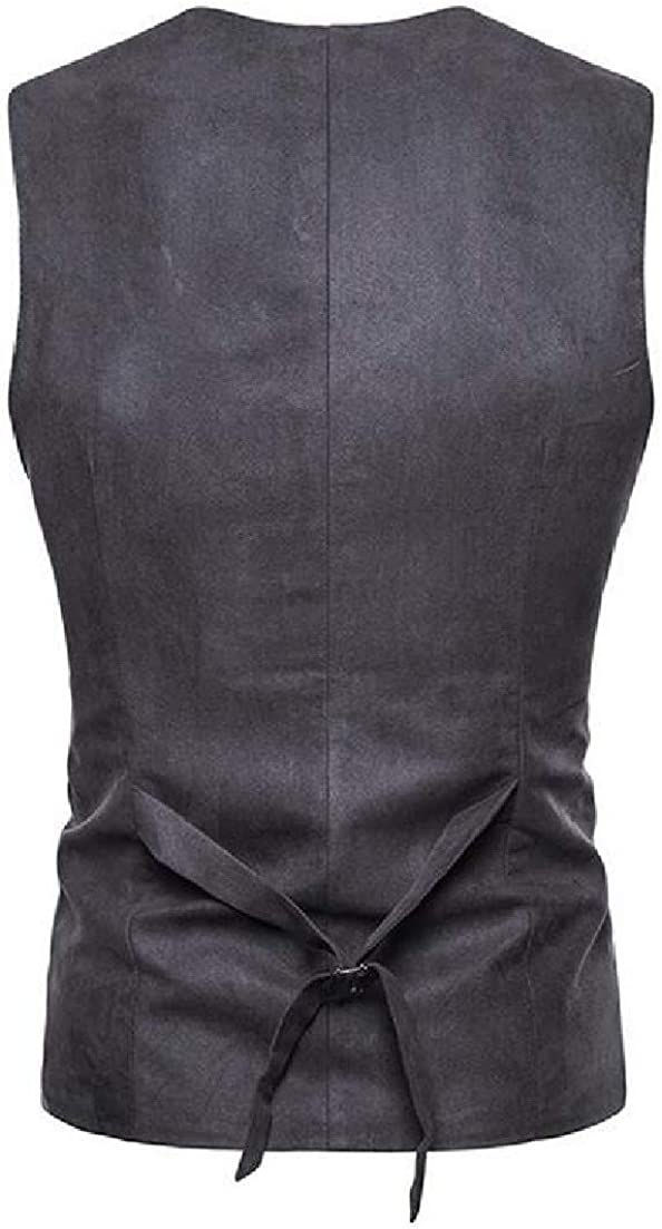 Zimaes-Men Solid Casual Slim Fit Velvet Double-Breasted Dress Waistcoat