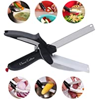 Food Chopper - Clever Stainless Steel Knife with Cutting Board Built-in - Use for Quick and Easy Cutting in Your Kitchen and on Picnics as Food Scissors - Vegetable Slicer - Fruit Cutter