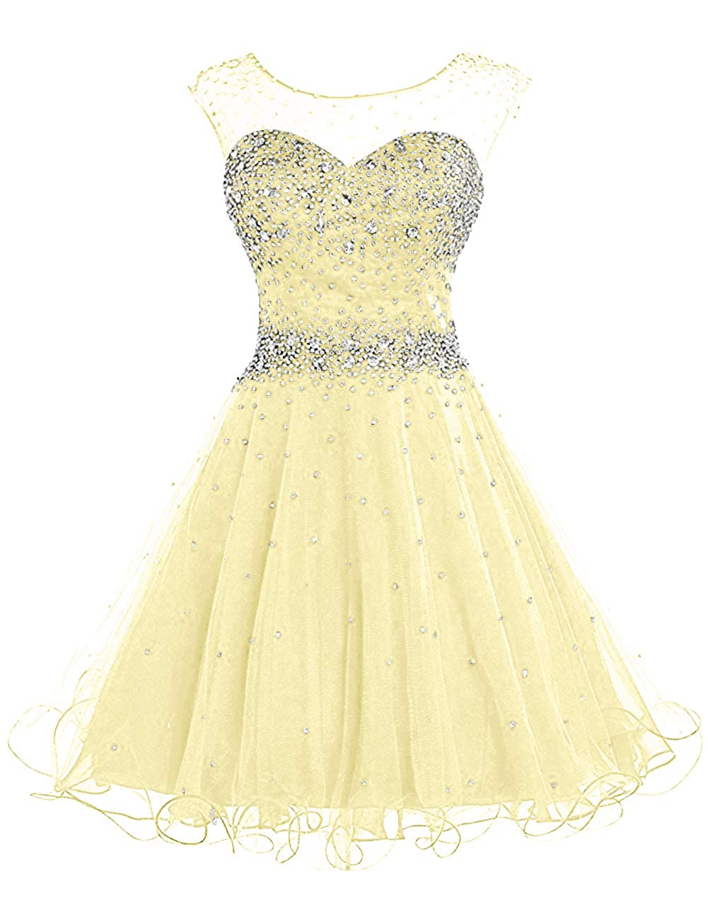 Yellow H.S.D Homecoming Dresses Prom Party Dresses Short Cocktail Dress Beads Graduation Gown