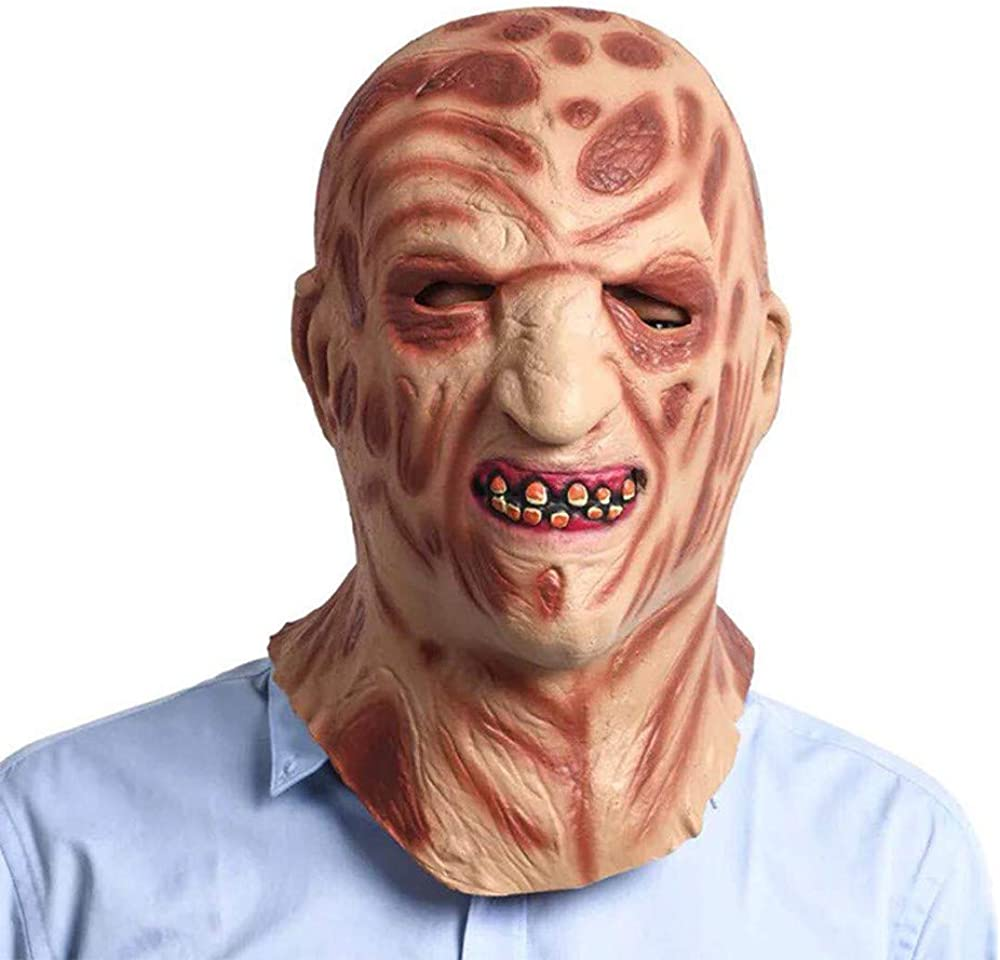 BLOODY MAN FACE DESIGN SCARY HALLOWEEN FULL FACE MASK HORROR ZOMBIE FANCY DRESS