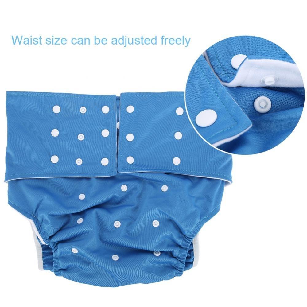 Polyester-Tuch Breathable Leakfree Pocket Windel waschbar Cover Windel Tuch f/ür Inkontinenz-Pflege mit verstellbaren 3 Reihen von Snaps Hellblau Wiederverwendbare Adult Windel