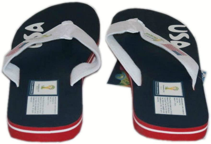 93c32783fc8c Adult FIFA World Cup Brasil Brazil USA Men s Thick Strap Flip Flop Thong  Sandals (6. Back. Double-tap to zoom