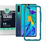Ibywind Screen Protector for Huawei P30 [Pack of 2] 9H Tempered Glass Protector with Back Carbon Fiber Skin Protector…