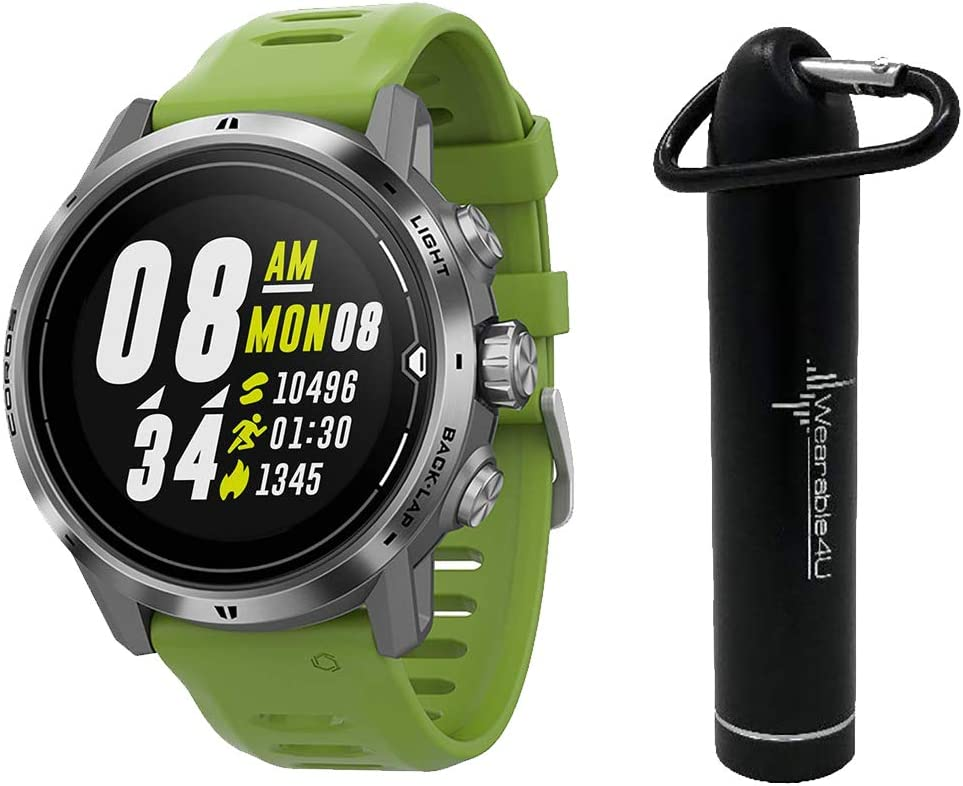 Coros APEX Pro Premium Multisport GPS Watch and Wearable4U Compact Power Bank Bundle (Silver)