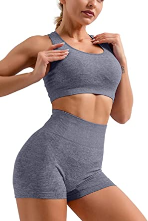 Hyz Women S Sleeveles 2 Piece Outfits High Waist Workout Shorts Yoga Sports Racerback Bra Sets At Amazon Women S Clothing Store