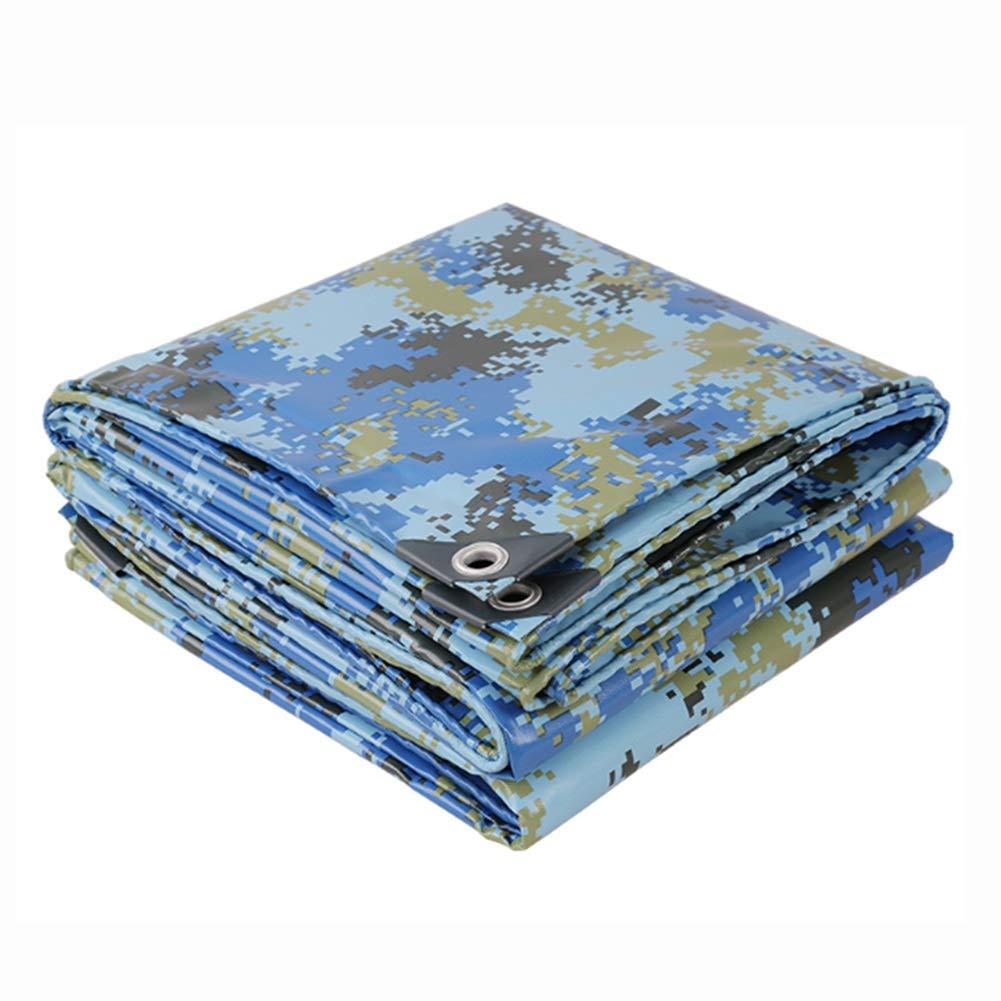 DALL ターポリン 迷彩 PVCコーティング 両面防水 多目的 アウトドア 防雨布 耐摩耗性 (Color : 青, Size : 4×6m) 青 4×6m