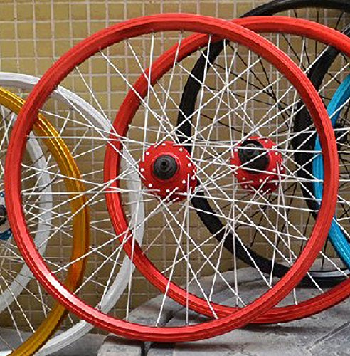 Shoptourismkit 20 inch 406 MTB Mountain Bikes Folding Bicycles Disc Brake Wheel Wheelset Hubs Rim Parts (Red)