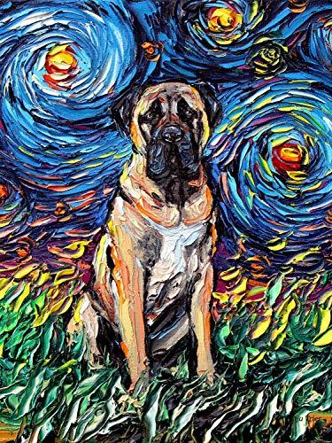 vas Starry Night Dog PRINT by Aja 9x12, 12x18, 18x24, 20x30, 24x36 inches ()