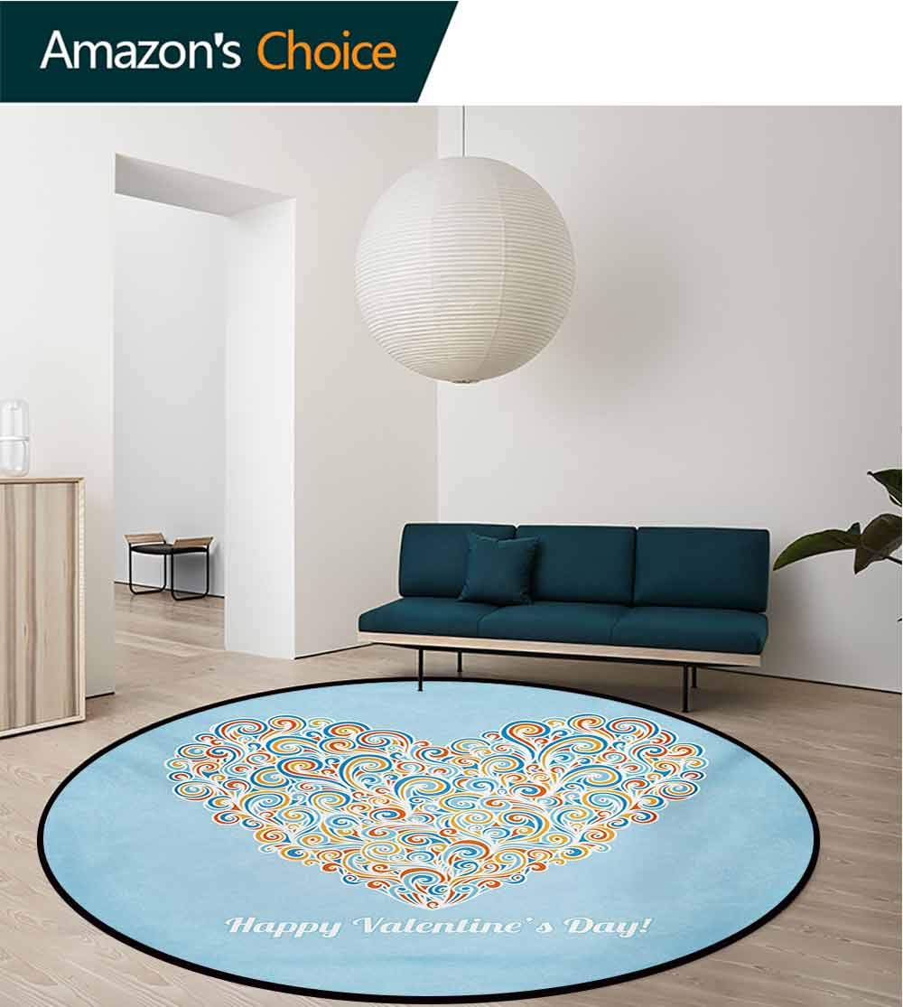 RUGSMAT Valentines Day Modern Machine Washable Round Bath Mat,Happy Love Valentines Day Image with Paisley Floral Colorful Heart Design Non-Slip Soft Floor Mat Home Decor,Diameter-59 Inch