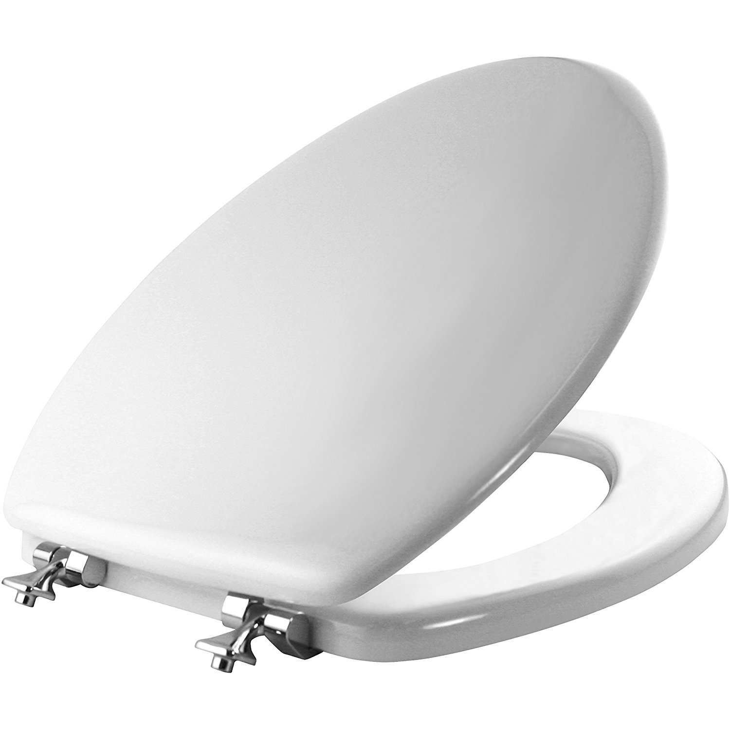 MAYFAIR 1844CP 000 Toilet Seat with Chrome Hinges will Never Come Loose, ELONGATED, Durable Enameled Wood, White by Mayfair
