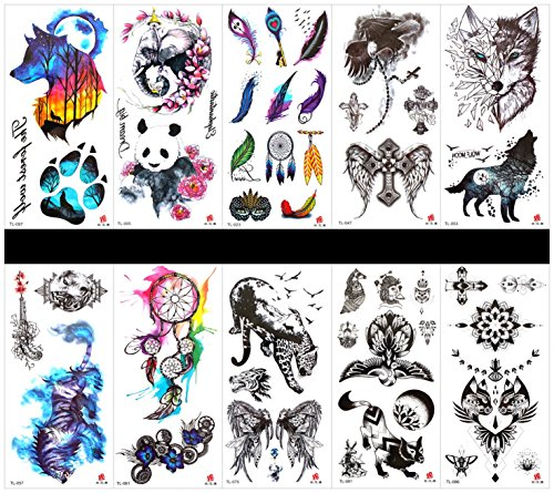 SPESTYLE 10pcs tattoo wolf tattoos waterproof and non toxic real fake tattoos in 1 packages,including -