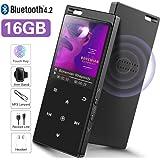 16GB SUPEREYE Reproductor MP3 Bluetooth 4.2 con Botón Táctil Reproductor de Música Digital con Auriculares con Cable, Altavoz Incorporado, Radio FM, Soporte hasta 64 GB
