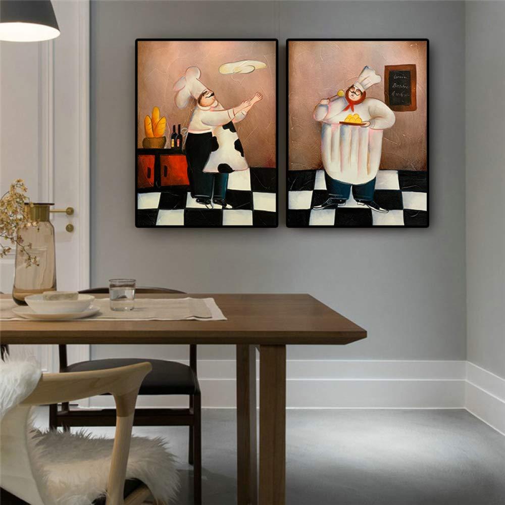 yhyxll Dessin anim/é Boulangerie Cuisinier Restaurant Peinture Affiches et Gravures Caf/é Scandinave House Cuisine Mur Art Photo pour Salon C 40x50cm