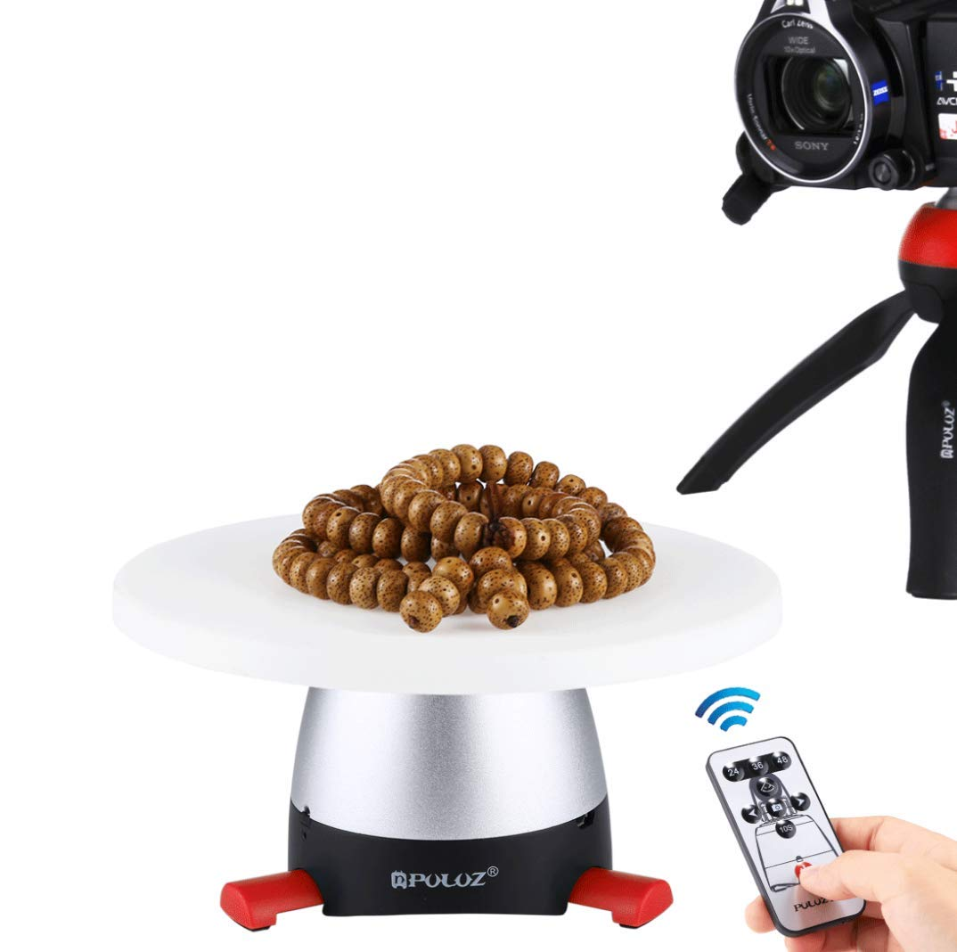 WSJ PULUZ Electronic 360 Degree Rotation Panoramic Tripod Head Round Tray with Control Remote for Smartphones, GoPro, DSLR Cameras(Blue),Red