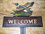 Cast Iron DUCK WELCOME Sign Garden Stake Home Decor Mallard Pond Plaque Fowl by OutletBestSelling