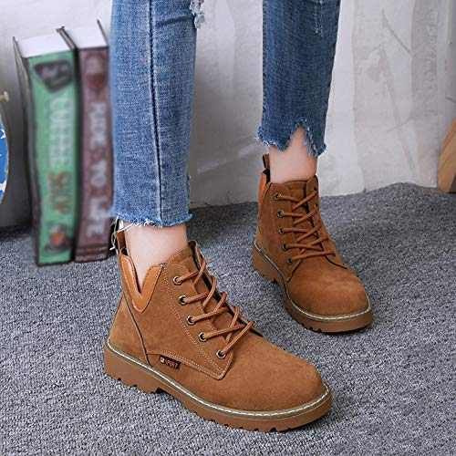Brown Round Retro Simple Up Head Suede Boots Classic Style British Women's Casual Martin Lace Flat FALAIDUO Boots Atmosphere Hx7TqEnq