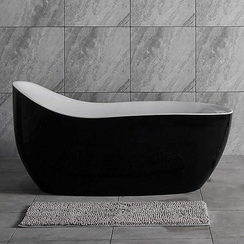 Woodbridge BTS1607 B0031 67 Air Bubble Freestanding Bathtub with Chrome Overflow and Drain, BTS1607, B-0031 Black