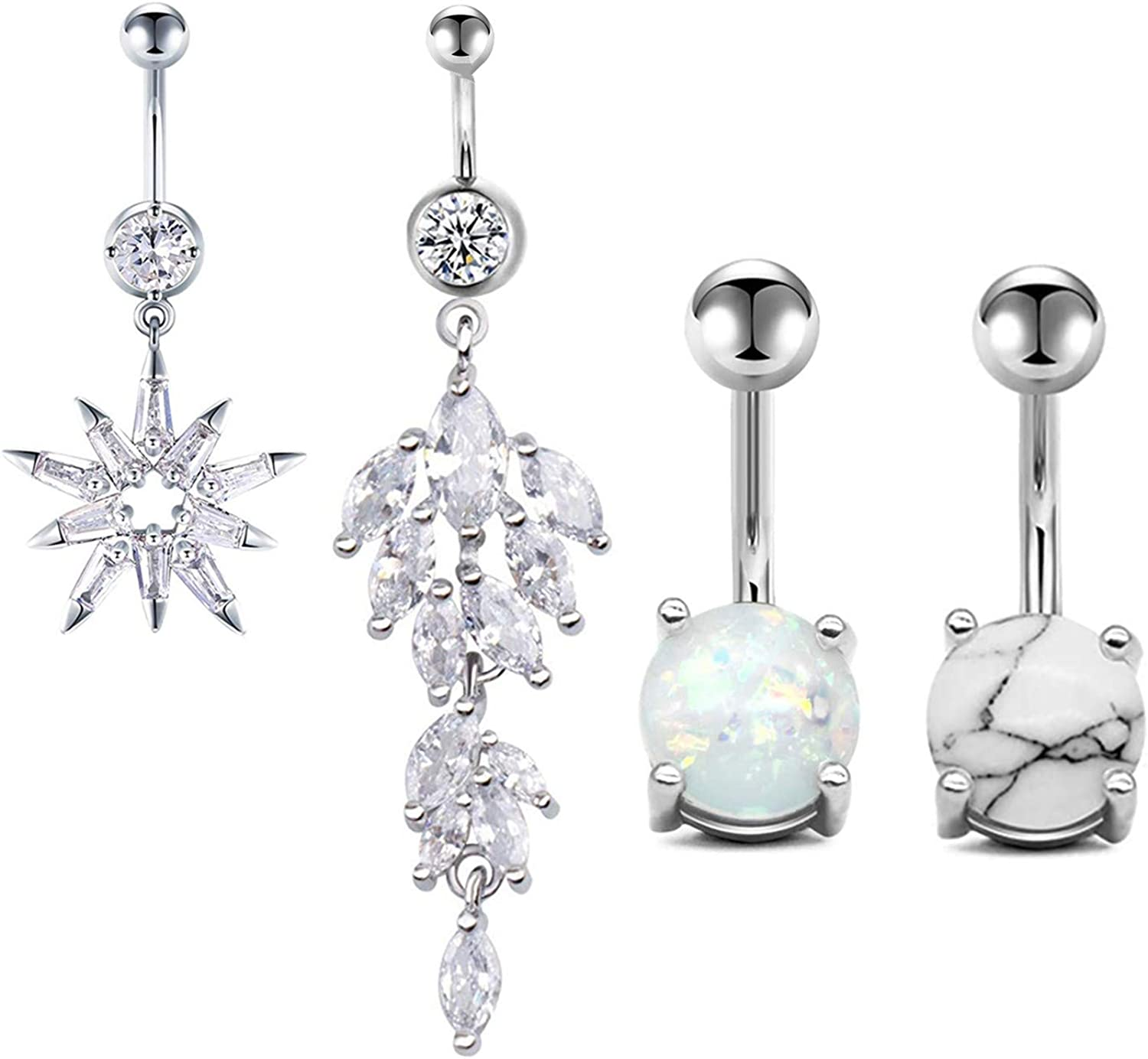 Amazon Com Cilkus 4pcs Diamond Belly Button Rings Marble Stone For Women Girls Natutal Mixed Stone Navel Rings Body Piercing Jewelry A 4 Pairs Silver Jewelry