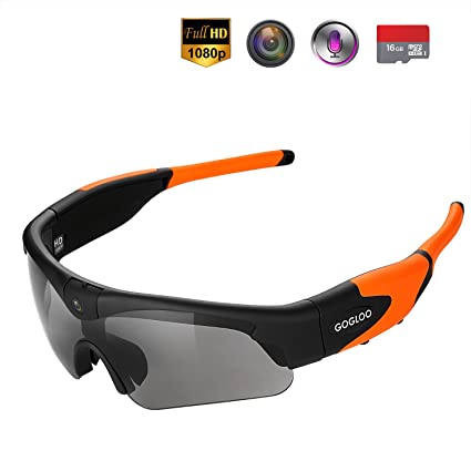 2178a2a17904 Tiltable 8MP Sony Camera on Sunglasses - Gogloo Hands Free HD 1080P Spy Video  Sunglasses with