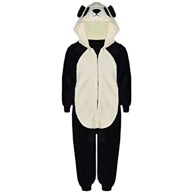 d56ea7c90567 Kids Girls Boys Onesie Soft Fluffy Panda All in One Animal Costume 7-14  Years