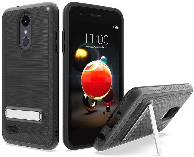 LG Aristo 3 /LG Tribute Empire Case, LG Phoenix 4 Case, Androgate [Silk  Series] Hybrid Matte Defender Phone Case Cover with Kickstand, Black
