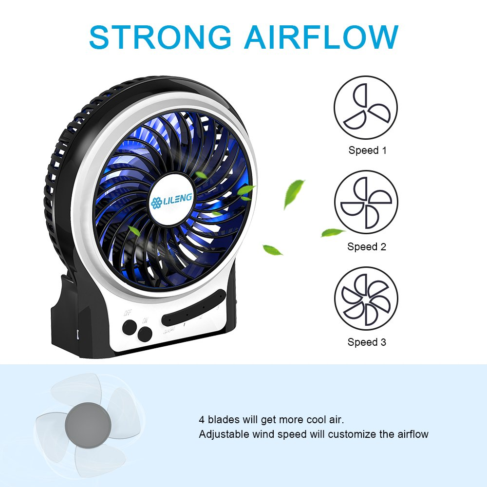 BENGOO Mini Desk Fan Portable Personal Cooling Fan USB Fan with Light Mode Powered by Rechargeable Battery for Office Traveling Household Use (Remove the Plastic film in the Battery Case before Use) by BENGOO (Image #2)