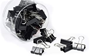 Metal Binder Paper Clip, Paper Clamp, Spring Clip, Small Medium Large Binding Clips, Home Office Supply, Outdoor Kit, Clips for Paperwork, Color & Size Assorted, in Plastic Box (Black 2in)