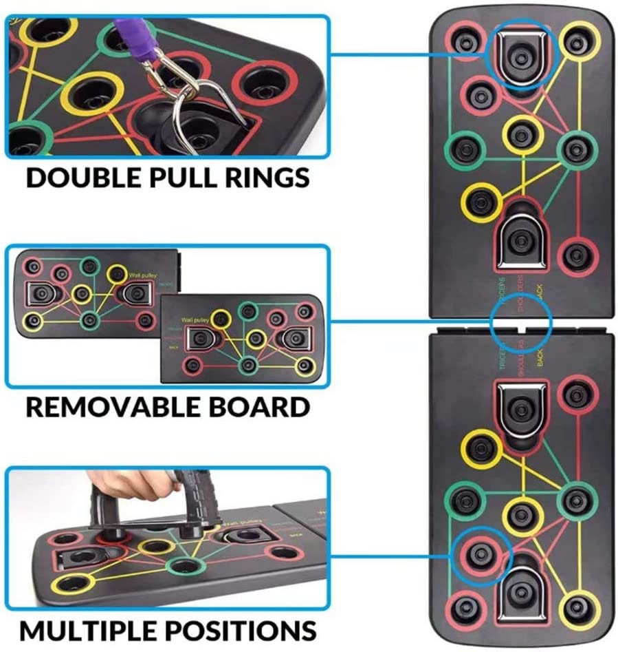 Fitness Exercise Stands for Men 13 in 1 Push Up Board with Resistance Band Women Chest Muscle Training Beginner Home Fitness Gym Pull Up Bar Portable Bracket Board Push Up Training System