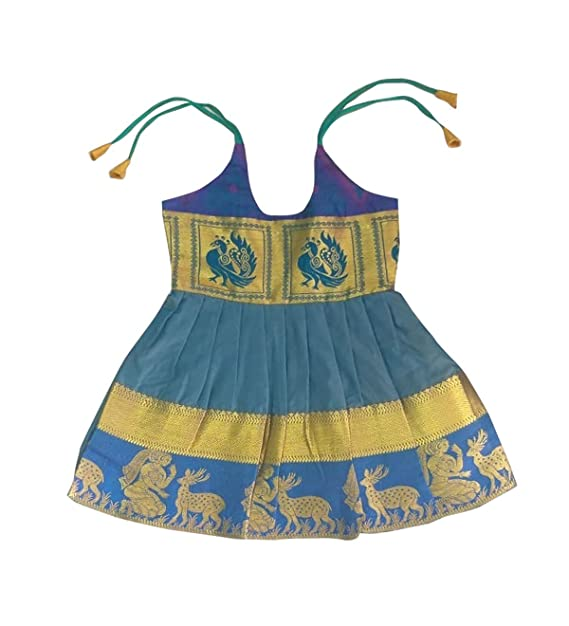 9afc727845 Pattu Pavadai Just Born Silk Frock Peacock Blue for Baby Girls & Kids - 6  Months