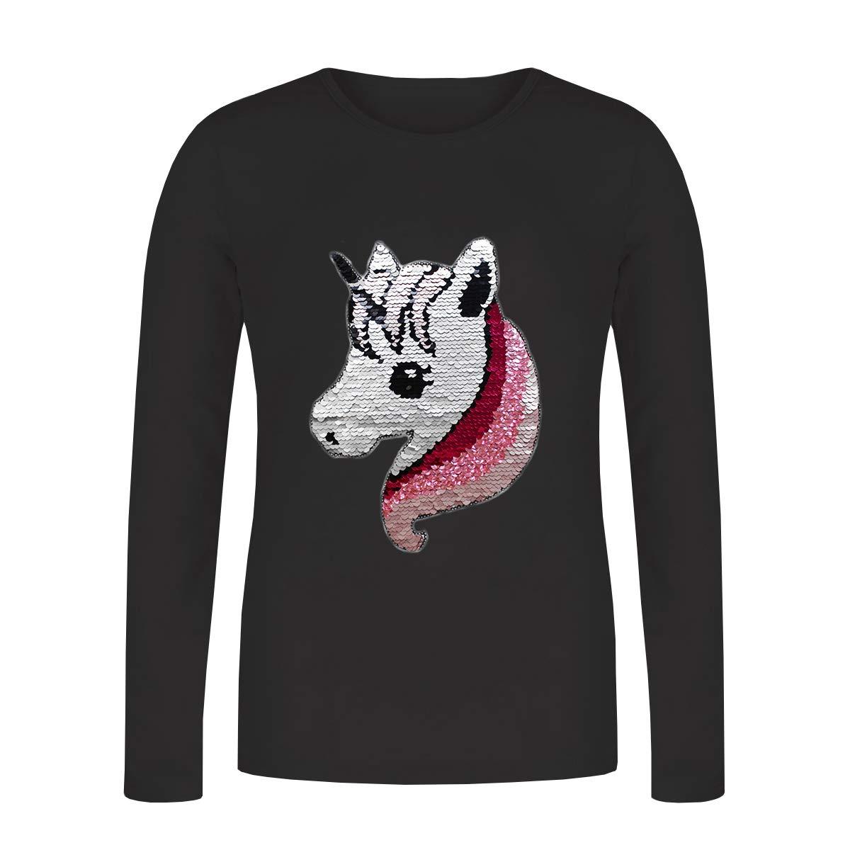 ZipZappa Unicorno Paillettes, T-Shirt per Ragazze, Manica Lunga Top