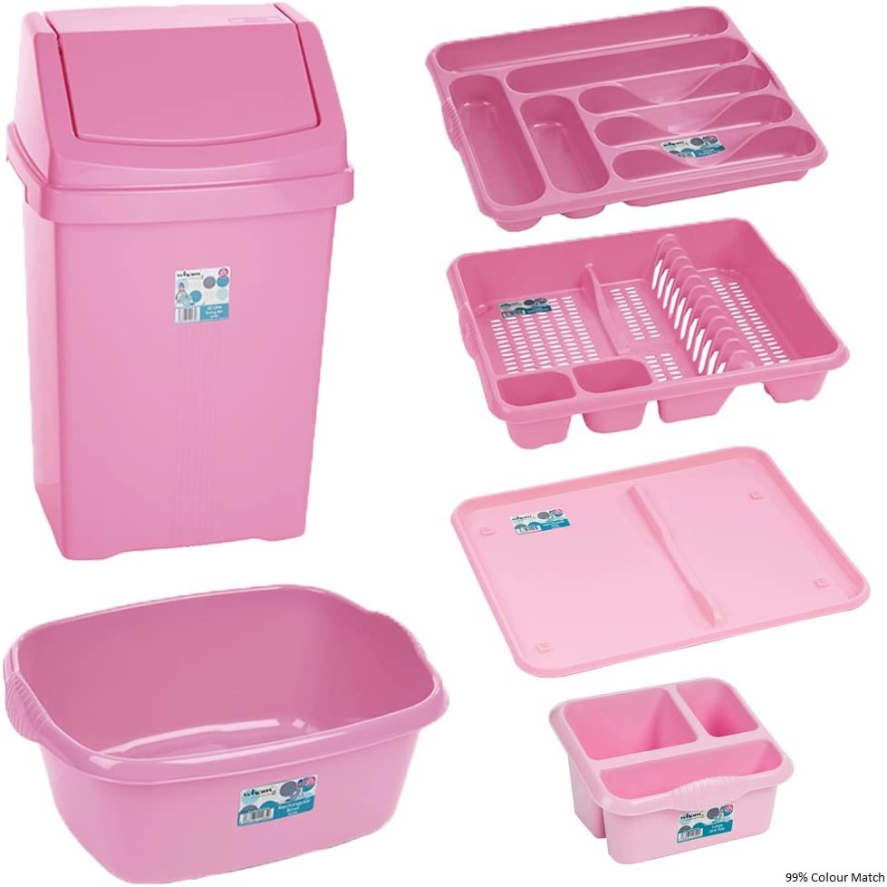 12 Pc Kitchen Waste Bin Set - Baby Pink (Includes - 12L Bin, Washing Bowl,  Drainer, Cutlery Tray , Sink Tidy , Dish Drainer Tray)