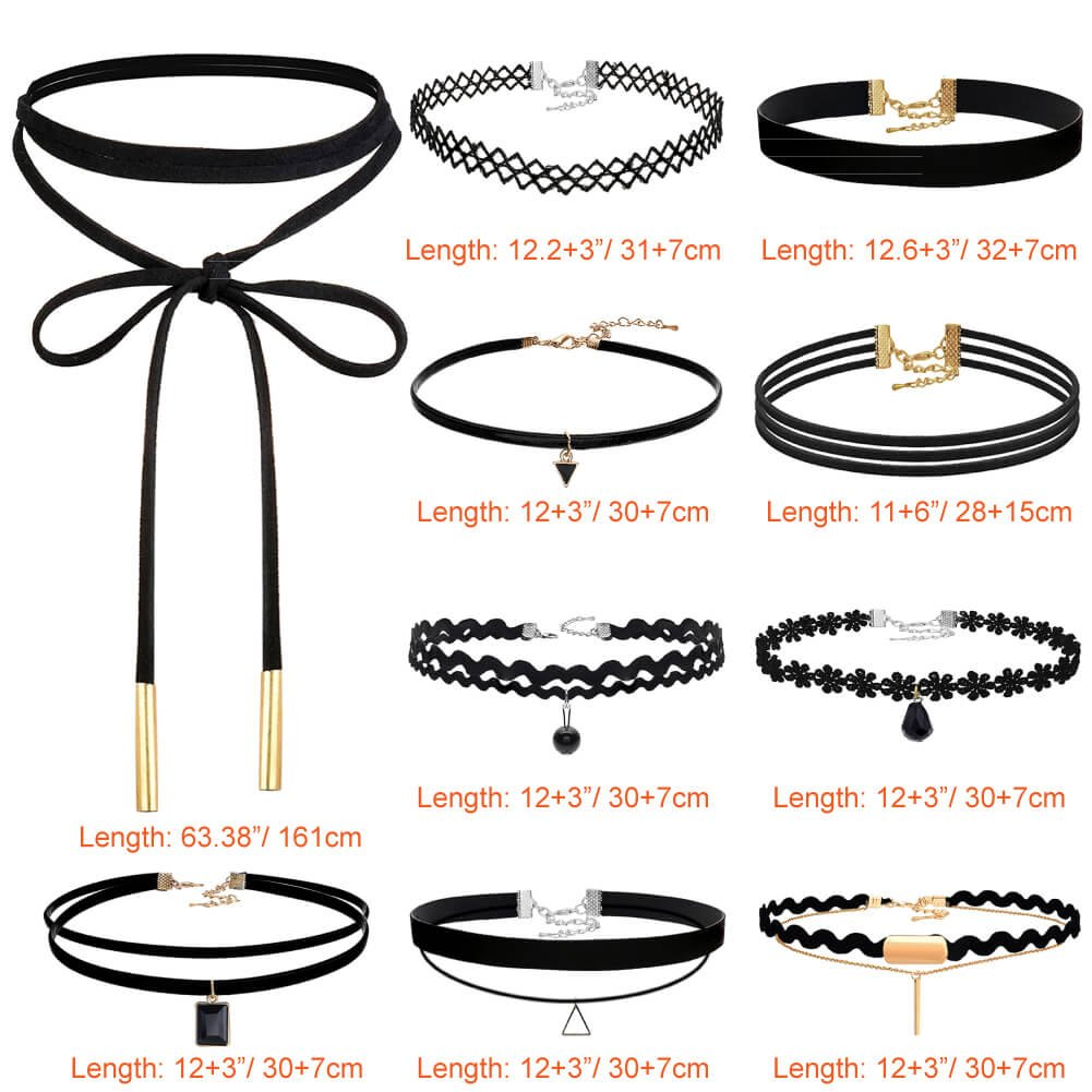 Pack of 10 Paxcoo CN-01 Black Velvet Choker Necklaces with Storage Bag for Women Girls