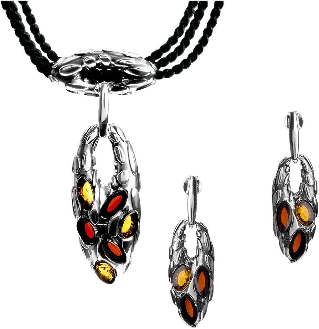Ámbar Multicolor Plata de Ley garra conjunto de collar colgante y pendientes cuerda 43cm