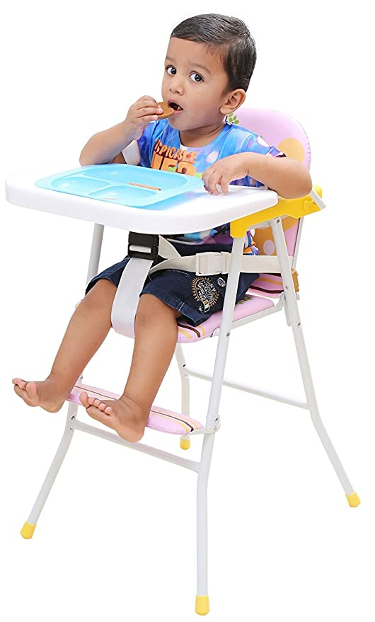 Strange Kurtzy Kids Foldable High Chair With Cushion And Safety Belt For Baby Pink Machost Co Dining Chair Design Ideas Machostcouk