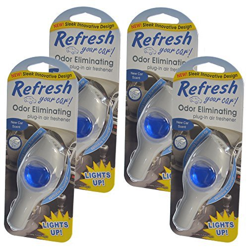 New Refillable (Refresh Your Car Odor Eliminating refillable Power Plug-In Lights Up Air Freshener, New Car (Pack of 4))
