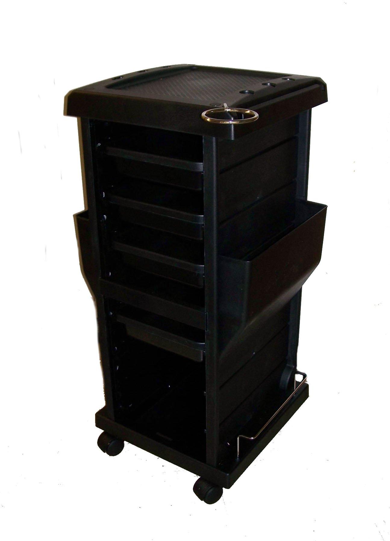 Rollabout Black Haircolor Accessory Beauty Salon Storage Cart 34'' X 17'' X 15''