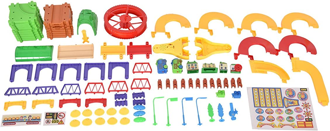 79PCS Plastic Brick Toys Electronic Building Blocks Railway Train W// Light Music