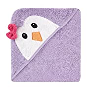 Luvable Friends Animal Face Hooded Towel, Purple Penguin
