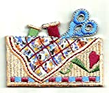 """[Single Count] Custom and Unique (2.25"""" x 1.88"""" Inches) Sewing Quilting Crafting Seamstress Tools Basket Thread & Scissors Design Iron On Embroidered Applique Patch {Tan, Blue, Red & Green Colors}"""