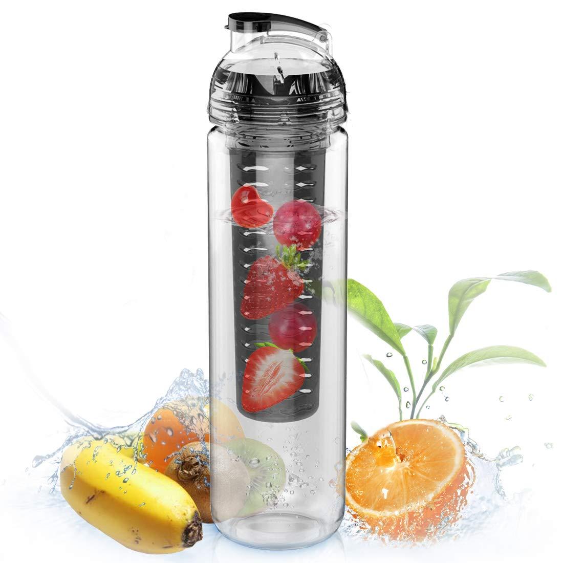 Avoin-Botella para infusiones, deTritán, sin BPA, color negro
