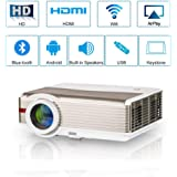 LED Wireless Bluetooth Home Theatre Projector 4200 Lumens LCD Smart HD Bluetooth Wifi Projector 1080P Multimedia Android Wireless Projector with Wifi HDMI USB VGA AV Audio In/Out TV for Movies Games