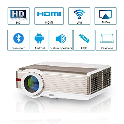 Multimedia Smart Android LCD Video Projector Bluetooth HDMI Wifi Miracast  Airplay Screen Mirror LED Movie Game Proyector Home Theater Outdoor  Wireless