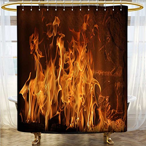 Bath Curtain Water Repellent Mold A burning flame in a fireplace Printed bathroom curtain 72 x 72 inches by also easy