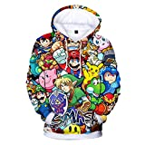 CTOOO 2018 New Mario Cartoon Color Printing Digital Printing 3D Plus Velvet Round Neck Men and Women Pullover Hoodie XXS-3XL
