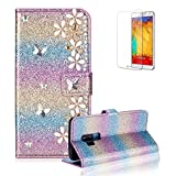 Funyye 3D Pearl Rhinestone Glitter Cover for Samsung Galaxy S9,Rainbow Purple Bling Diamond Lucky Butterfly Flower Magnetic Flip Wallet Cover with Stand Credit Card Silicone PU Leather Case for Samsung Galaxy S9,Shockproof Non Slip Full Body Protection Cover for Samsung Galaxy S9 + 1 x Free Screen Protector