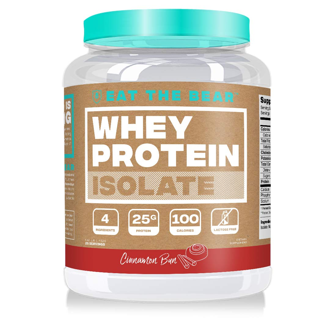 Eat the Bear, Whey Isolate Protein Powder, Keto Friendly Protein Powder, 100 Calories, All Natural, Gluten Free (25 Servings, Cinnamon Bun) by Eat The Bear