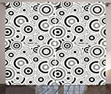 Ambesonne Geometric Curtains, Graphic Circle Texture Motif on White Background Rounded Style Illustration, Living Room Bedroom Window Drapes 2 Panel Set, 108W X 90L Inches, Grey White Black For Sale